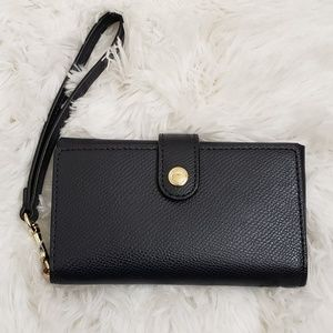 COACH - Navy Blue Leather Wristlet/Wallet